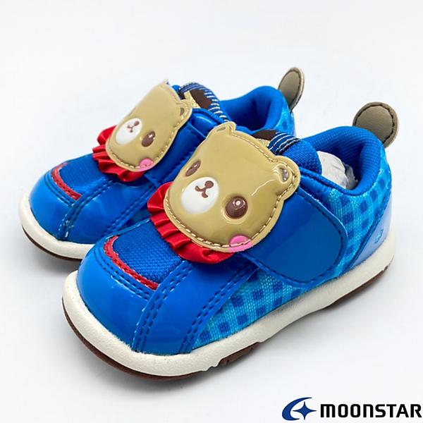 ◍零碼◍日本月星Moonstar機能童鞋頂級學步系列寬楦熊熊軟式彎曲學布鞋款085藍(寶寶段)
