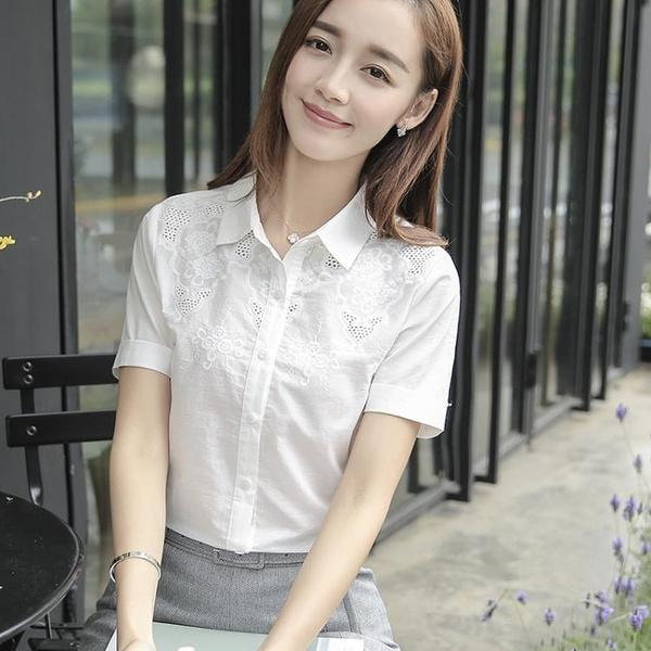 刺繡襯衫 白色襯衫女短袖純棉夏季正韓職業女裝設計感 刺繡襯衣-Ballet朵朵