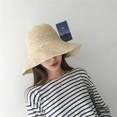 韓國紫羅蘭新款鏤空鉤針草帽記憶鋼絲邊可折疊出游度假凹造型 QQ1496『樂愛居家館』