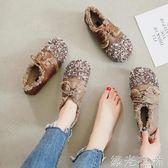 娃娃鞋 年日系森女大頭系帶平底單鞋學院風圓頭復古小清新娃娃鞋女 綠光森林