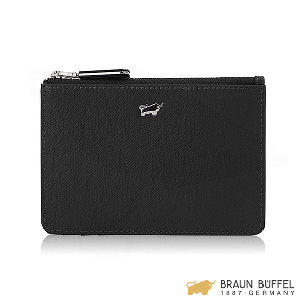 【BRAUN BUFFEL】美莉莎-III系列拉鍊零錢包 -黑色 BF651-723-BK