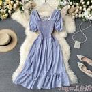 雪紡洋裝 夏裝2021新款甜美法式初戀裙方領短袖褶皺收腰顯瘦仙女雪紡連身裙 suger