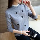 毛衣女季套頭新款韓版刺繡寬鬆百搭針織打底衫短款假兩件『櫻花小屋』