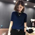圓領短袖薄款冰絲針織衫2021夏裝韓版寬鬆顯瘦時尚百搭打底上衣女【快速出貨】