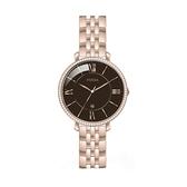 【Fossil】Jacqueline奢華羅馬時標晶鑽鋼帶腕錶-黑玫金/ES4723/台灣總代理公司貨享兩年保固