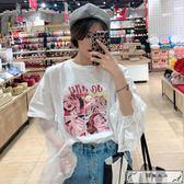 洋氣印花T恤女裝夏新款韓版寬松蕾絲網紗假兩件上衣長袖打底衫
