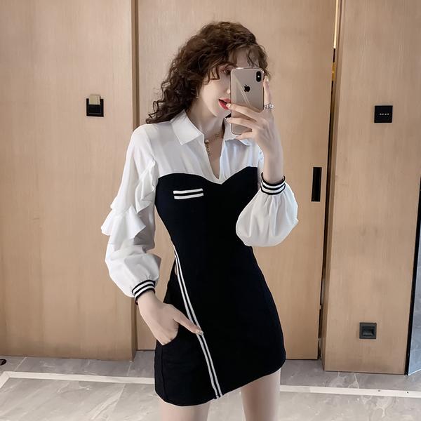 絕版出清 韓國風豎側條紋褶皺修身短褲套裝長袖褲裝
