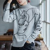 毛衣男女情侶裝線衣韓版秋冬季學生寬鬆個性刺繡青少年針織衫潮『新佰數位屋』