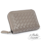 La Poche Secrete 編織小羊皮拉鍊卡夾包-自信灰3002