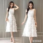 蕾絲連身裙女夏裝2020新款顯瘦名媛氣質羽毛流蘇粉色無袖長洋裝夏 yu13864『寶貝兒童裝』