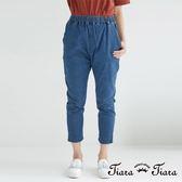 【Tiara Tiara】百貨同步 鬆緊腰七分牛仔褲(藍)