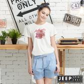 【JEEP】女裝圖騰短袖T恤-白色