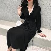 新品中尺碼洋裝大碼胖MM連身裙春秋韓版復古高腰顯瘦赫本風法式小眾中長款桔梗裙