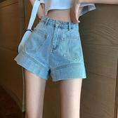 牛仔短褲 不規則牛仔褲女夏季2020新款韓版淺色高腰直筒褲顯瘦闊腿褲短褲子 交換禮物