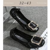 大尺碼女鞋小尺碼女鞋圓頭舒適鬆緊方扣蛋捲鞋豆豆鞋孕婦鞋平底鞋娃娃鞋黑色(32-43)