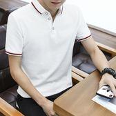 POLO衫短袖男士新款夏季潮流男裝襯衫領POLO衫帶領短袖T恤男翻領半袖衣服