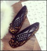 方頭精緻豹紋舒適豆豆鞋娃娃鞋平底鞋女鞋包鞋豹紋(35-41大尺碼)現貨