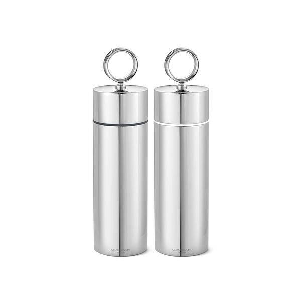 丹麥 Georg Jensen Bernadotte Salt & Pepper Grinder Set 喬治傑生 瑞典王子系列 不鏽鋼 椒鹽 研磨罐 兩件組