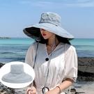 防曬帽 遮陽帽 防曬漁夫帽防紫外線遮臉遮陽女可折疊夏季百搭大沿帽檐太陽帽