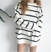 韓國風針織衫 秋冬季新款上衣 情侶套頭簡約百搭毛衣 韓版時尚條紋毛衣 韓版學生潮男女套頭毛衣