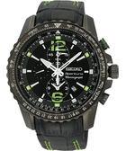 【僾瑪精品】SEIKO Sportura 綠光競速 二地時區鬧鈴計時腕錶-黑 7T62-0LA0G(SNAE97J1)