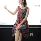 洋裝~無袖連身裙~棉綢連身裙女韓版中長款大碼修身碎花裙55082.F055A愛尚布衣