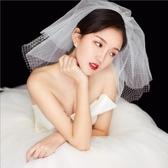 新娘頭紗 韓式簡約可愛菱格網格多層短款蓬蓬新娘頭紗旅拍婚紗配飾 莎拉嘿呦