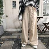 寬管褲 學院風高腰寬鬆顯瘦純色拖地長褲女百搭直筒休閒寬管褲【極有家】