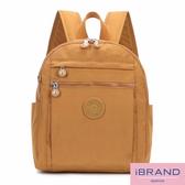 iBrand後背包 輕盈防潑水微甜尼龍口袋後背包-土黃色 MDS-8613