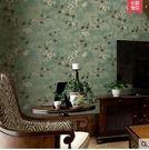 復古青綠色田園小花 臥室客廳無紡布壁紙PLL943【男人與流行】