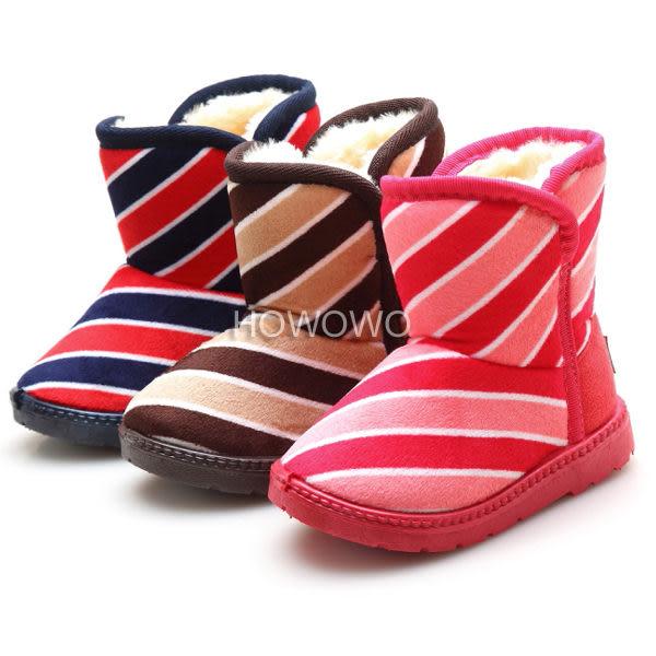 經典條紋加厚女寶寶雪靴 中小兒童保暖短靴 (14-16.5cm) MG8001 好娃娃