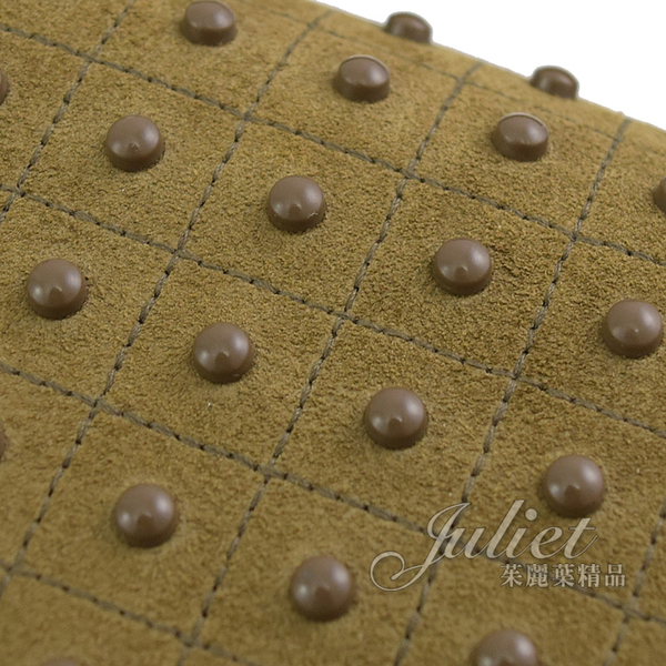 茱麗葉精品【全新現貨】TODS Diodon Mini 豆豆裝飾麂皮兩用河豚包.橄欖色