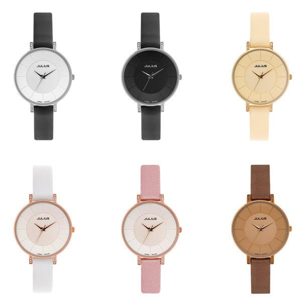 JULIUS 聚利時 第一個微笑簡約設計腕錶-黑色/30mm 【JA-766LB】
