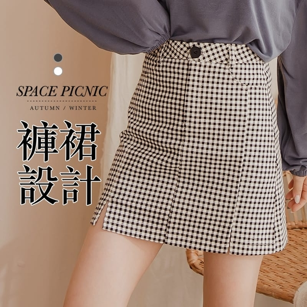 短裙 褲裙 Space Picnic|小格紋雙開衩短褲裙(預購)【C20125035】
