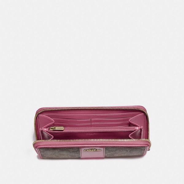 美國 Coach PVC C字LOGO 經典拉鏈長夾 皮夾 (咖啡色/莓紫色)
