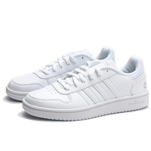 ADIDAS HOOPS 2.0 全白 皮革 小白鞋 休閒鞋 女 (布魯克林) B42096
