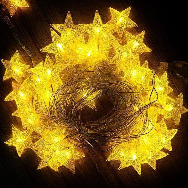 LOWDEN 星星超晶透星星彩色燈串/聖誕燈串/LED燈串 藍色,多彩色,暖黃光三色