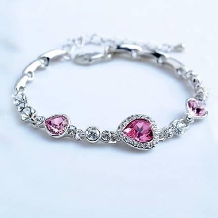 柔粉嬌媚優雅水晶鑲鑽手鍊 18K真白金玫紅 (0219)