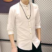 夏季韓版休閑棉麻白短袖襯衫修身純色 JD1748 【3C環球數位館】