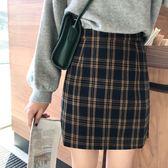 ZUCAS~(WT-7151)學院風格子A字半身裙女2019春季新款韓版百搭高腰顯瘦包臀短裙