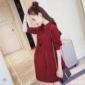 孕婦秋裝洋裝新款韓版時尚中長款 麥吉良品