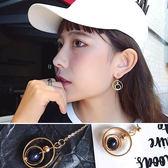 耳環 不對稱 鍊條 流蘇 圓環 珠珠 耳夾 耳環【DD1707184】 icoca  09/28