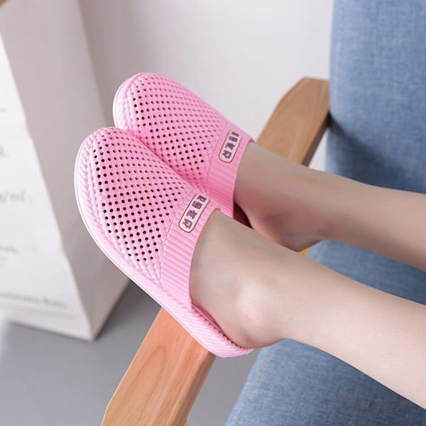 夏季正韓包頭拖鞋時尚浴室防滑涼拖厚底洞洞鞋女士居家塑料沙灘鞋【618好康又一發】