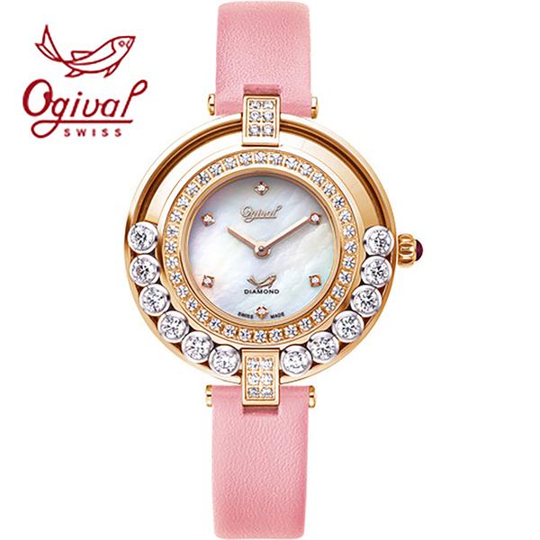 【Ogival愛其華】流星系列-流光瀲灩珠寶錶-粉x白 380-45.1DLR