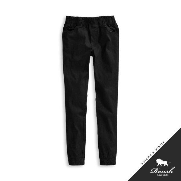【Roush】女生口袋皮標裝飾造型彈力縮口褲 - 【725063】