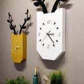 北歐創意鹿掛鐘客廳臥室靜音時鐘木質方形掛表現代簡約家居壁掛