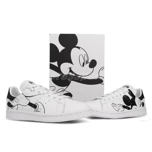 adidas 休閒鞋 Stan Smith 黑 白 女鞋 運動鞋 Mickey Mouse 米老鼠 【PUMP306】 FW2895