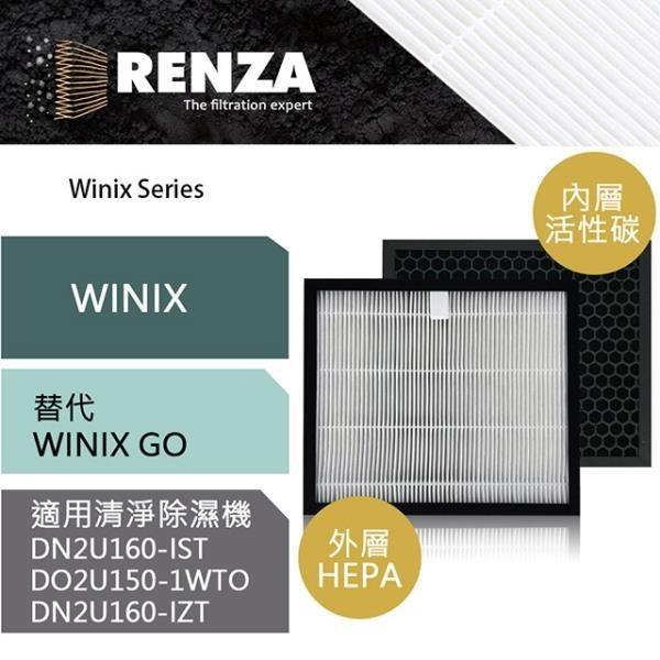 【南紡購物中心】RENZA濾網 適用Winix 清淨除濕機15L 16L-G 16L-S 可替代 WINIX GO HEPA+活性碳