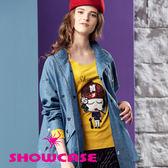 【SHOWCASE】個性亮片 紅帽女孩圖案長袖T恤(黃)