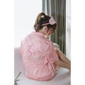【好康618】性感襯衫睡衣女夏季冰絲韓版絲綢短袖寬鬆